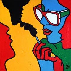 """Blah-blah-blah"" Acrylic Painting 39"" x 39"" inch by Roman Reznitsky"