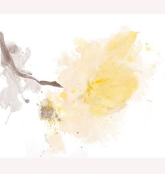 """Yellow Peony Minimalist Floral Painting A light touch. Mixed Media Canvas 50x50"""""""