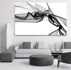 """Minimalist Black White New Media Painting on Canvas, 44x72"""" Moves on Reaction"""
