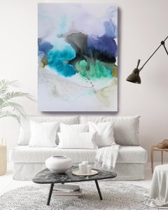 """Green Blue Watercolor Painting Hand Textured Giclee on Canvas 45W x 65H"""""""
