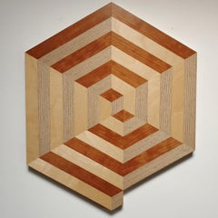 Spiral - contemporary modern abstract geometric wood veneer painting object