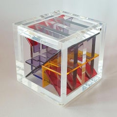 Homage to Van Doesburg - contemporary modern abstract geometric cube sculpture