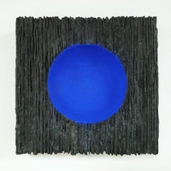 Inner Form Blue - black blue contemporary modern abstract sculpture painting