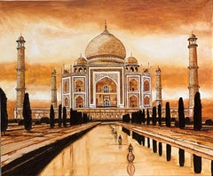 Taj Mahal Reflections - Original oil on canvas painting by Catherine Colosimo