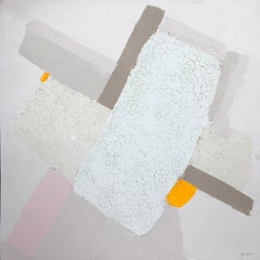 Topography Series (Heart)  - abstract painting in light, yellow, pink, beige
