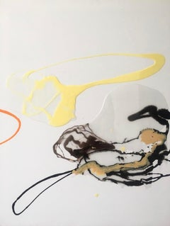 Composition IV - abstraction art, made in black, orange, yellow and white