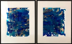 Colorfall II - abstraction art, made in gold, blue, ultramarine, turquoise