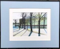 Tuileries (Paris,France)-winter park, made in blue, white, green, black, framed