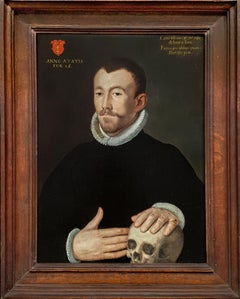Portrait of a Gentleman with Skull, Memento Mori oil on panel