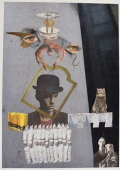 Space cowboy - photo collage, Dutch artist, paper, photography, contemporary