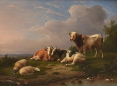 Cows and sheep by a creek - Realist Romantic Livestock Belgium