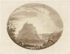Mont St Michel, sepia aquatint, Charles Dibdin, 1801