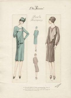 Art Deco French 1920s Fashion Design Vintage Print