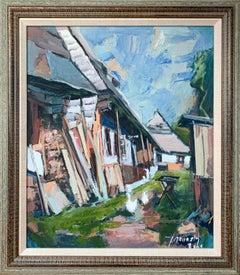 """""""Village Scene"""" by Jozef Kaminsky, oil on board"""