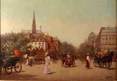 """""""Animated Boulevard, Paris"""", 19th Century oil on canvas by Gaspar Miró i Lleó"""