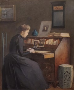 Watercolor Portrait of a Woman Writing at a Desk