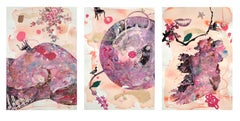 """""""My Body, My Soul"""" Triptych Watercolor, Mixed Media, Gold Leaf on Handmade paper"""