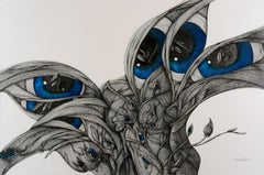 """""""Twilight"""" - Surreal Pen and Ink Black and White Drawing of Female Figures"""