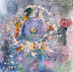 Wheel of Fortune - Incredible Mixed Media  Abstract Painting Grey+ Pink + Purple