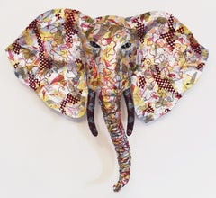 Marfil - Majestic Elephant Sculpture in Up-cycled Materials Silver + Gold + Pink