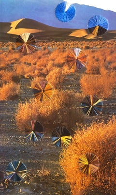 And the Dust Settled- Desert Landscape, Blue and Orange Complimentary Colors