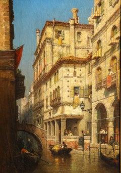 American Italian impressionist Venetian Canal, Figure w/ Canoe, Gilded Frame