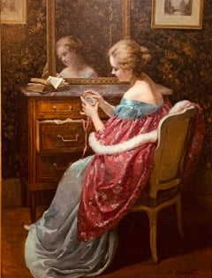 1890s Life Size Impressionist Woman at Boudoir W/ off Shoulder Satin Fur Dress