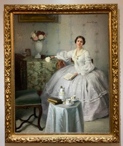 Antique Impressionist Oil Painting of a Woman in a White Dress w/ Roses