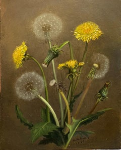 Early 1859 American Realist Still Life Thistles and Dandelions