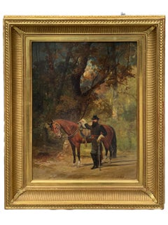 PERIOD American Antique Civil War Portrait of Officer and His Horse