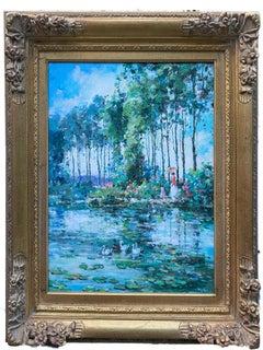 French Impressionist Lake Scene Woman w/ Parasol Landscape