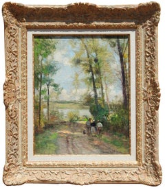 """Figures on a Road"", Jules Herve, Green Landscape, Impressionist, French Antique"