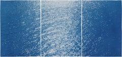 Splendorous Amalfi Coast Seascape , Colossal Cyanotype Triptych on Paper, 2020