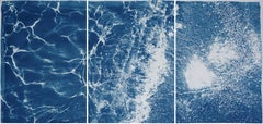Turquoise Abstract Wave in Tulum, Cyanotype Triptych Seascape of Caribbean Beach