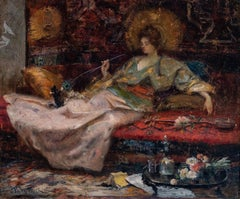 """LADY PLAYING WITH KITTENS IN AN ORIENTALISING INTERIOR"""