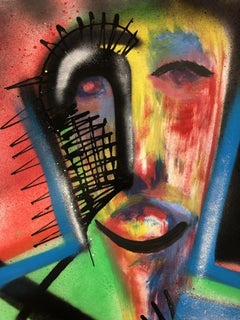 The Sentient - Spray Paint, Mixed Media on Paper, Bold, Expressive Faces