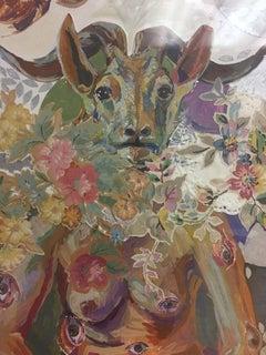 Eying the Om, colorful imaginative cut mixed media, woman, animal, eyes, rabbit