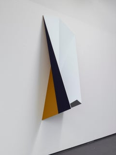 """""""This One"""" / Geometric abstraction, minimal, relief, sculpture, painting, blue"""