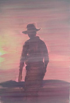 Jasper Hagenaar, 2007 (oil painting on cardboard of a cowboy in the evening sun)
