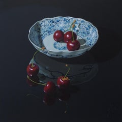 ''Cherries on Black'' Dutch Contemporary Still Life with Porcelain and Fruit