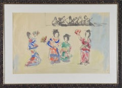 Geisha Girls by MANE-KATZ - Watercolour and ink on paper, figurative art