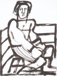 The Boxer, America Martin, black & white figurative drawing on cotton paper