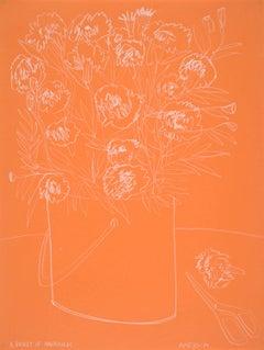 Roses on Orange Paper, America Martin Pencil on Handmade Paper, 2019