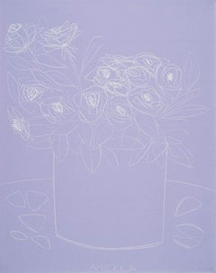 Roses on Violet Paper, America Martin, Pencil on Handmade Paper, 2019