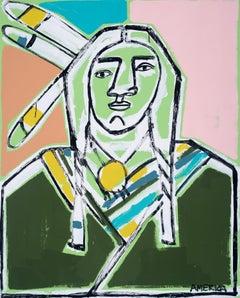 Three Feathers, America Martin-Figurative, Native American Portrait- Pink &Green