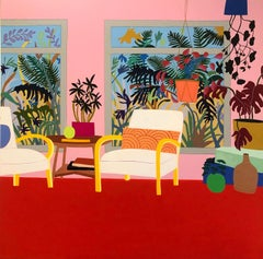 Interior IV, Mary Finlayson, Gouache + Flashe on Canvas (Red & Pink Interior)