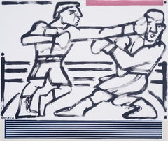 Boxers in the Ring, America Martin-black & white figurative drawing,cotton paper