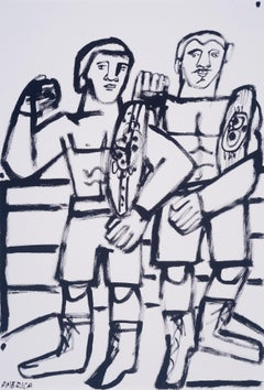 Two Champs, America Martin, black & white figurative drawing on cotton paper