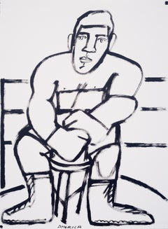 The Young Boxer, America Martin-black & white-figurative drawing on cotton paper