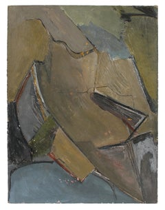 Abstract Expressionist Painting in Cool Tones, Circa 1960s